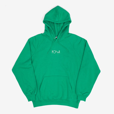 The Default Hoodie in Mint from Polar Skate Co features a small embroidered script logo at center chest, and sports a regular fit. 70% Cotton / 30% Polyester Soft brushed interior 310 gsm Made in Portugal Product code: POLSP20046 off the hook oth streetwear boutique canada montreal