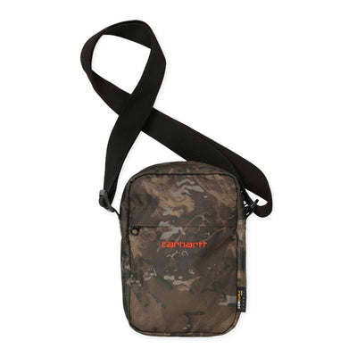 Carhartt WIP Payton Shoulder Pouch Camo/Orange front available at off the hook montreal