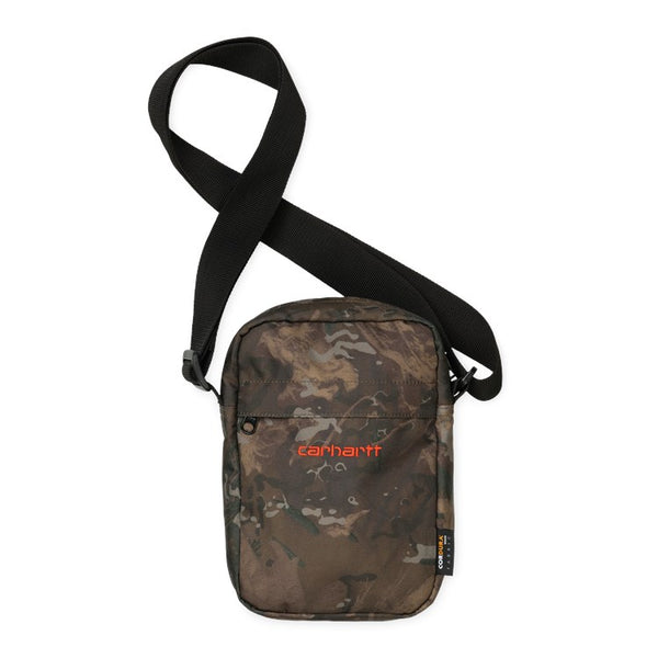 Pochette Carhartt WIP Payton Camo / Orange sur le devant disponible à off the hook montreal