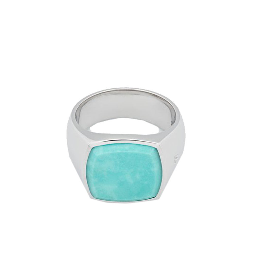 A classic signet ring made with 925 sterling silver combined with Turquoise stone. The stone will come with a variation in the color.  Product code R74HP-TQU Cushion Turquoise Ring off the hook oth streetwear jewelry boutique canada montreal