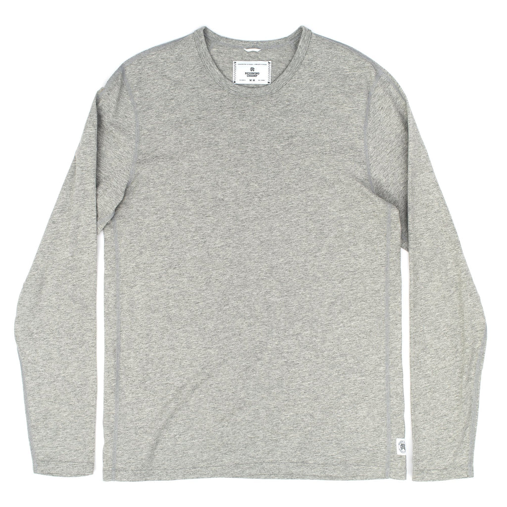Reigning Champ's classic long sleeve T-shirt is made from extra-long staple Pima cotton. Details include a rib-bound collar and smooth flatlocked seams and is always proudly made in Canada.  100% Cotton Product code: RC.2087 Knit Cotton Jersey Long Sleeve Crewneck White off the hook oth streetwear boutique canada montreal