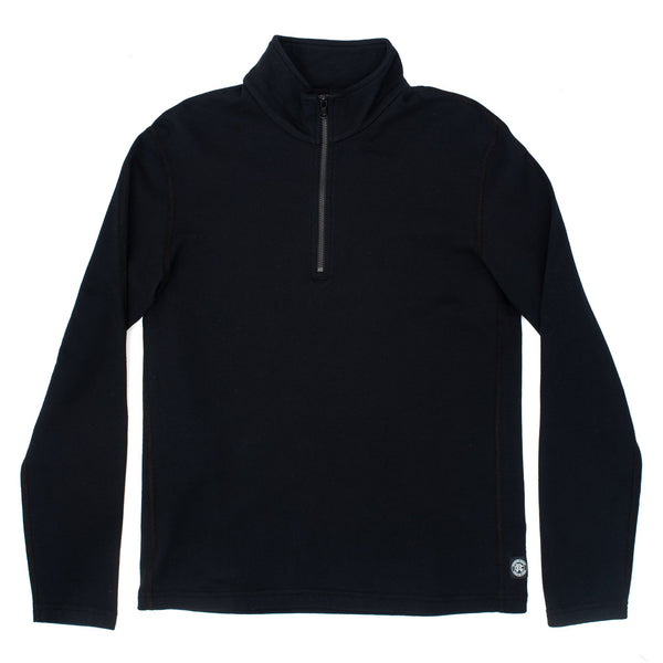 Reigning champ RC3578 Knit Pima Lightweight Terry Half Zip Pullover Black - front - available at off the hook montreal
