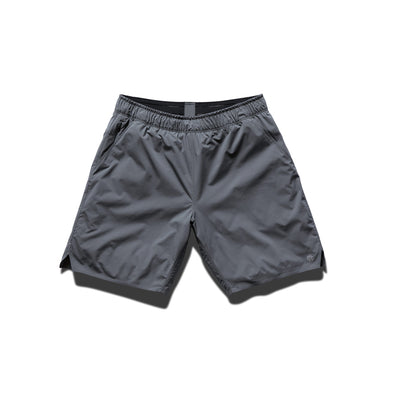 "Reigning Champ C.5291 Woven 7"" Training Short Carbon - front - available at off the hook montreal"