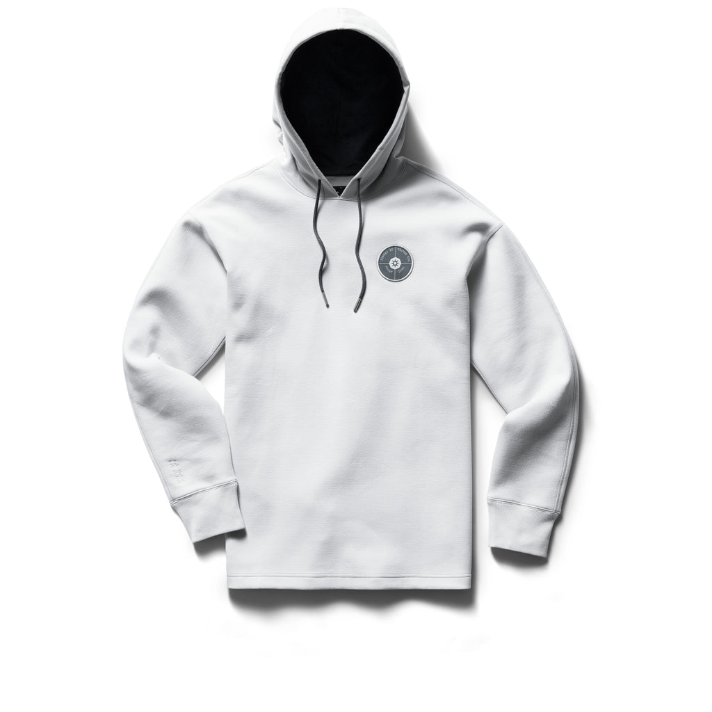 Designed for post-run recovery, this slightly relaxed hoodie is made from a double-knit cotton blend. The structured design features a Pima Jersey-lined hood, an embroidered Point Zéro des routes de France chest patch and embroidered coordinate details. Now at Off The Hook, OTH, Montreal, Quebec, Canada.