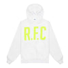 This hoodie is part of the R.F.C Women's collection exclusive to OTH 4357 and online. The hoodie is made of 80% cotton and 20% polyester with a silkscreen logo. 80% cotton, 20% polyester Trinity Hoodie White off the hook oth streetwear boutique canada montreal football soccer