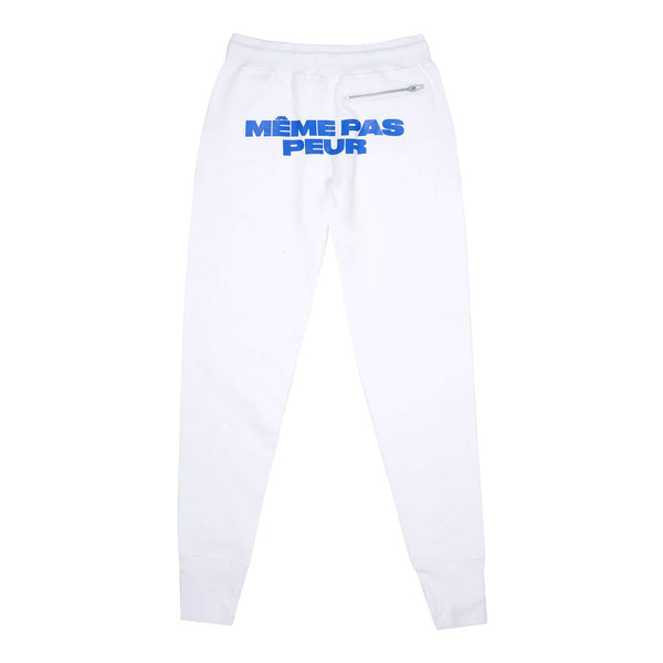 100% Cotton 400 GSM Back: Silkscreen  Made in Canada Product code: MPP002-WHT Même Pas Peur Jogging Pants White off the hook oth streetwear boutique canada montreal ringleaders Même Pas Peur Jogging Pants White