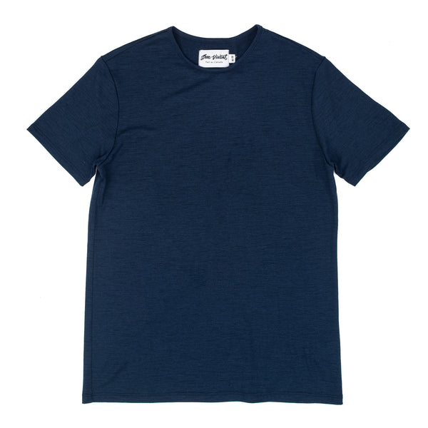 100% Merino Wool from Australia 5 Micron, 180g Non Mulesed (sheep were not harmed) Regular Fit Product code: SP20BV005 Stevie Merino T-Shirt Navy bon vivant off the hook oth streetwear menswear boutique canada montreal