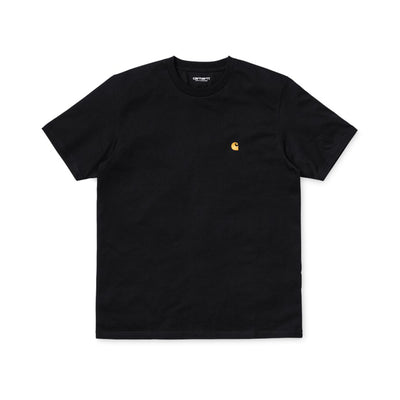 Carhartt WIP S/S Chase T-Shirt - Black / Gold - Front - Off The Hook Montreal #color_black-gold