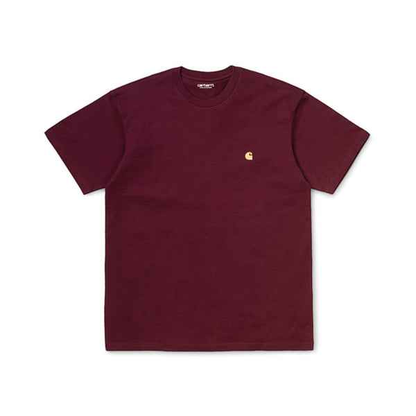 Carhartt I026391 S/S Chase T-Shirt Bordeaux/Gold front available at off the hook montreal