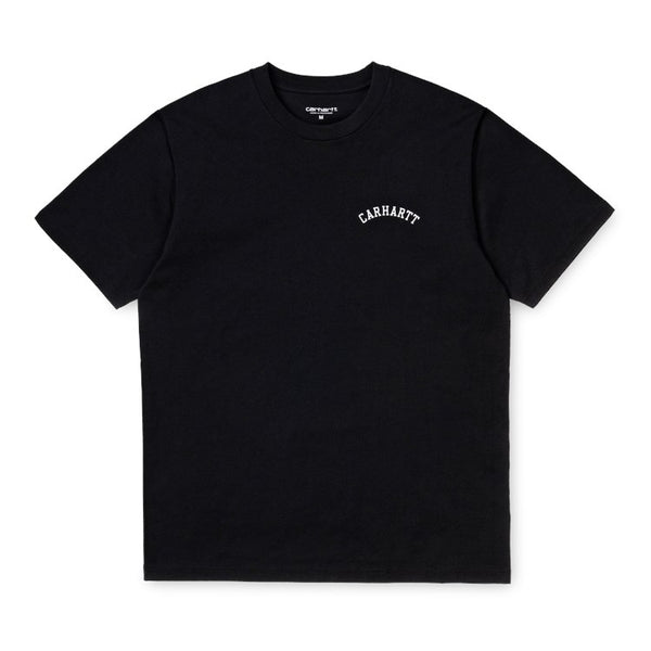 Carhartt WIP S / S University Script T-Shirt Black / White front disponible à off the hook montreal