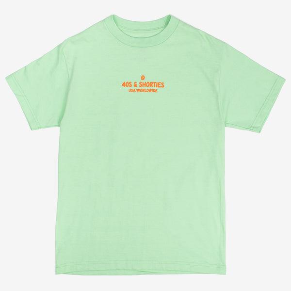 The Toon Text Logo Tee in Mint by 40s & Shorties features a centre chest print in orange on a 100% cotton t-shirt.   Product code: TNTTMSU20 off the hook oth streetwear boutique canada montreal