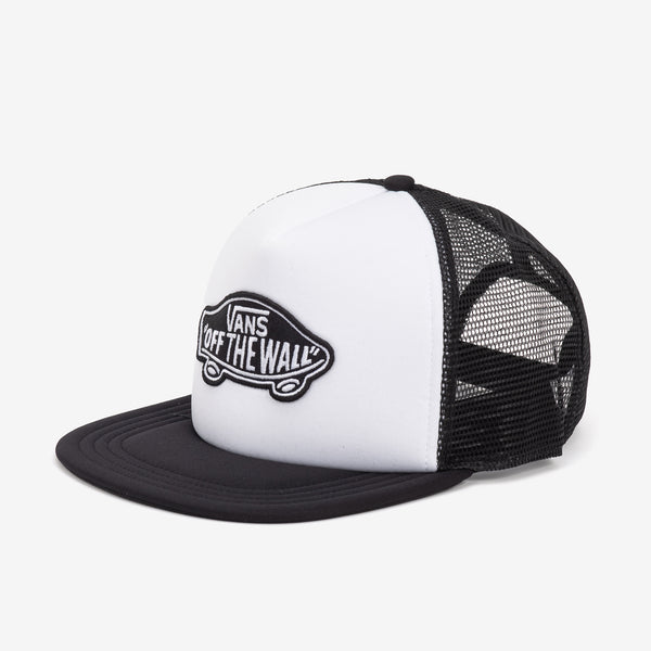 The Classic Patch Trucker Hat in White/Black is a 100% polyester mesh back adjustable trucker hat with a Vans Off The Wall logo patch. Product code: VN000H2VYB2 off the hook oth streetwear boutique canada montreal