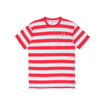 Vans Wheres Waldo Stripe Porkcet SS - White / Racing Red - Front - Off The Hook Montreal