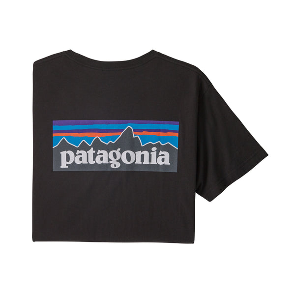 Patagonia 38535 P-6 Logo Organic T-Shirt Black back view available at off the hook montreal