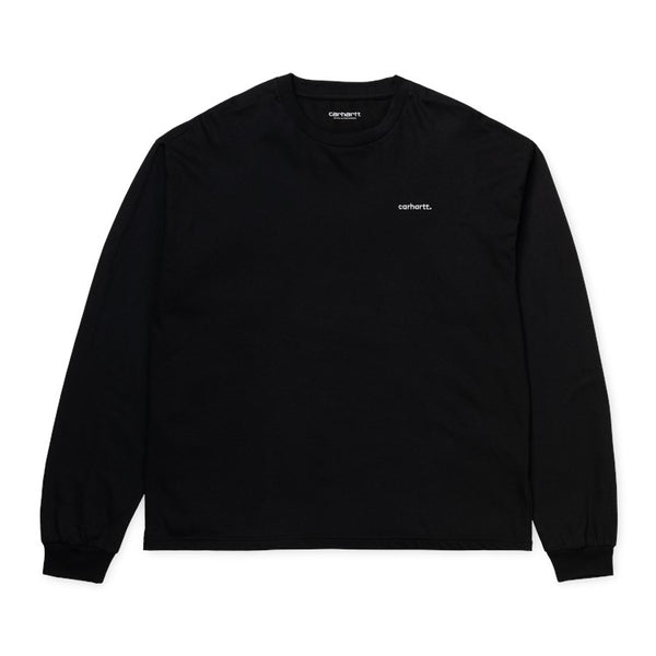 Carhartt WIP W' L/S Typeface T-Shirt - Black / White - Front - Off The Hook Montreal