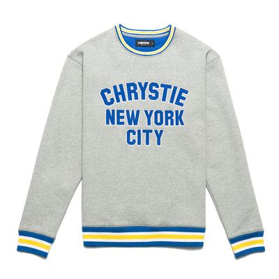 Chrystie CHRYSTIEFA2006-AGRY Varsity Logo Crewneck Ash Grey front available at off the hook montreal