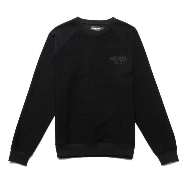 CHRYSTIEFA2009-BLK Reversed Terry Crewneck Black front available at off the hook montreal