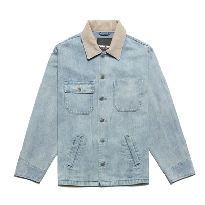 Chrystie CHRYSTIEFA2003-COL Washed Denim Chain Stitched Chore Jacket front available at off the hook montreal