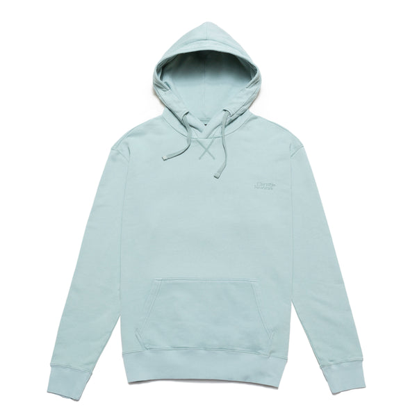 This Classic Logo Premium Fleece Hoodie in Stone Blue by Chrystie features premium durable french terry with a tonal Chrystie embroidery on the left chest. Elastic cuffs and hem allows for a comfortable fit. The kangaroo pocket keeps small belongings secured. Now at OTH.
