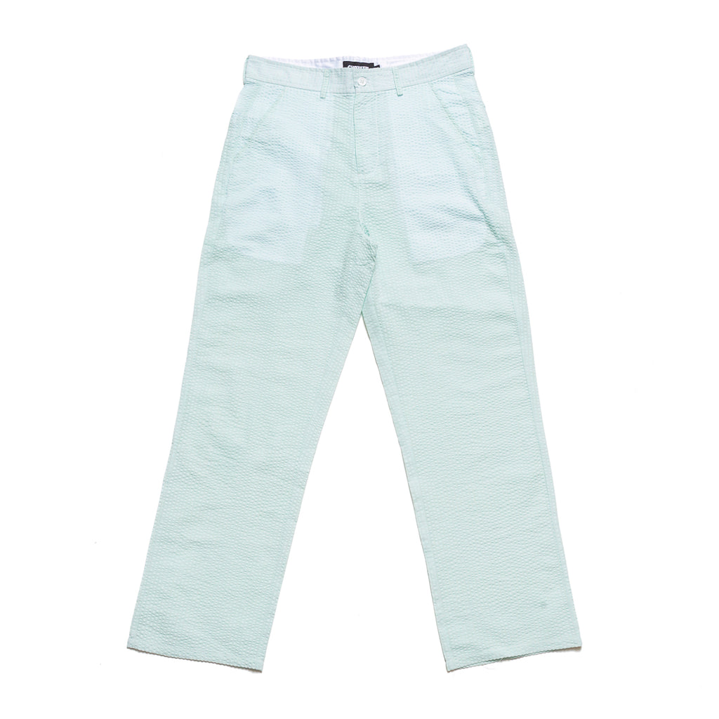 These seersucker pants from Chrystie NYC come in a lightweight cotton construction. The mint colorway has a relaxed fit, with button closure for the waist, as well as the back pockets. Minimalist branding is stitched over the right back pocket. Now at OTH.