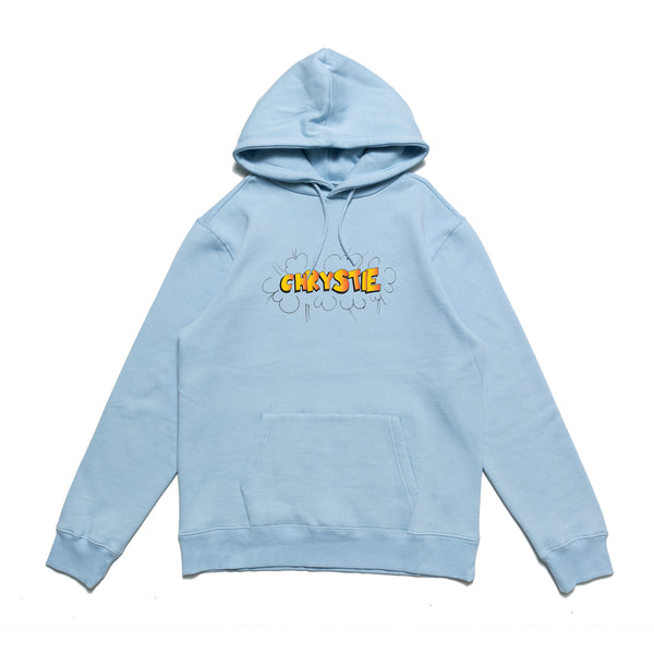 The Ruscha Logo Hoodie in light blue from Chrystie NYC comes in a cut and sew 320 GSM fleece construction, with a printed logo on the center of the chest. Now at OTH.