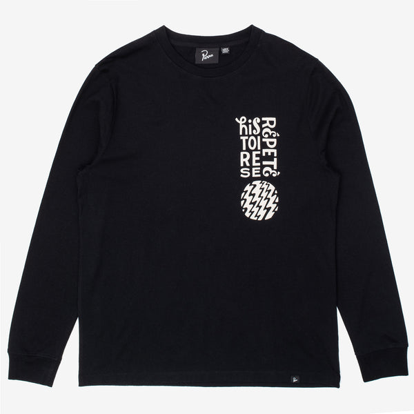 The Histoire Long Sleeve T-Shirt in Black is a custom silhouette longsleeve, featuring Piet Parra's instantly recognizable artwork on the left chest and back. 100% Cotton with a dry touch finish, 190 grams/m2 Eco pre-washed for zero shrinkage Custom waterbased screenprint at front Regular fit Made in Portugal Product code: 44070 off the hook oth streetwear boutique canada montreal