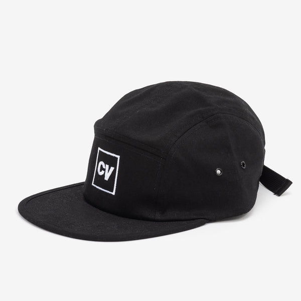Cinema Verite CV18-20 CV Logo Box Cap Black side available at off the hook montreal