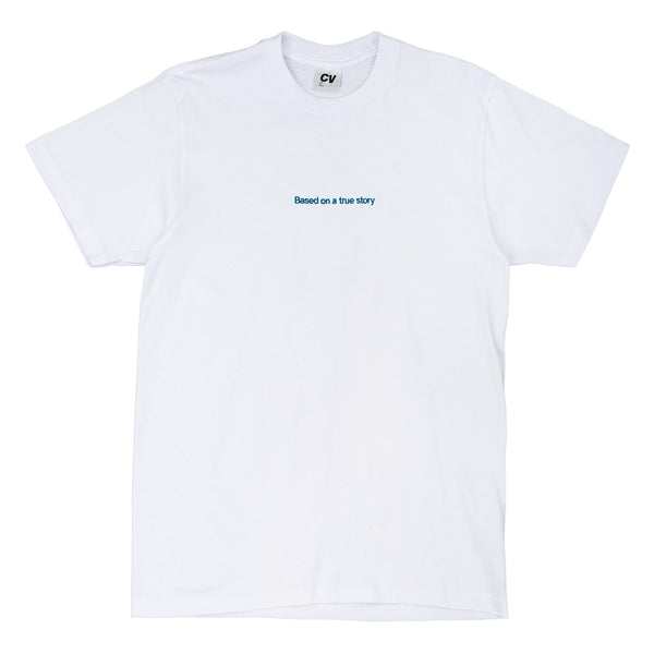 CINEMA VERITE Based On a True Story T-Shirt - White - Front - Off The Hook Montreal
