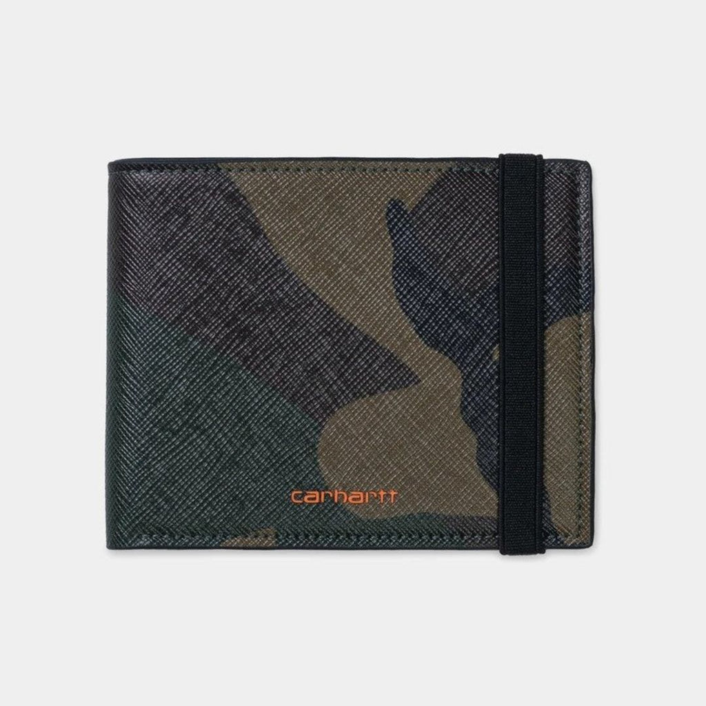 Carhartt WIP Coated Billfold Wallet Camo/Orange is available at off the hook montreal