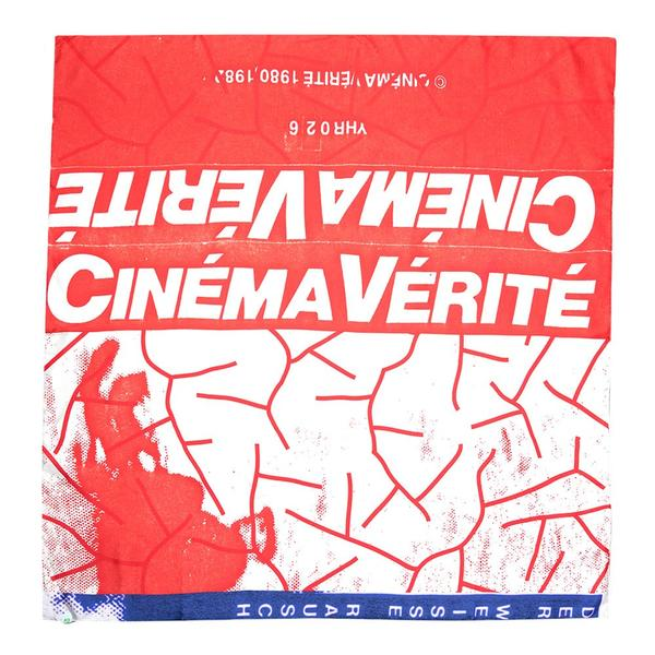 CINEMA VERITE LE BRUIT BLANC SILK SCARF - Red / White / Blue - Front - Off The Hook Montreal