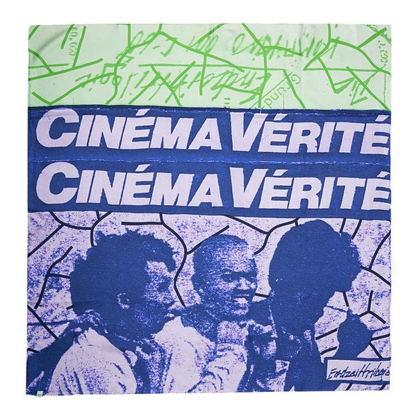 CINEMA VERITE LA TRILOGIE DE LA FIN DES TEMPS SILK SCARF - White / Green / Blue - Front - Off The Hook Montreal