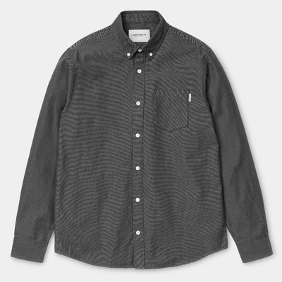 carhartt wip L/S Dalton Shirt Black/Shiver is now available at off the hook montreal