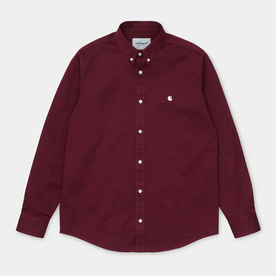Carhartt WIP I023339.JD.90.03 L/S Madison Shirt Bordeaux/Wax is available at off the hook Montreal