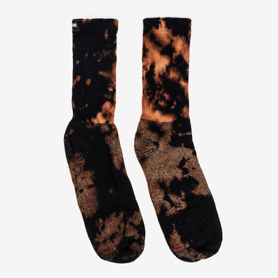 Moonshine's Tie Dye Socks features an allover bleach tie dye with Moonshine branding at the hem. Now at Off The Hook, OTH, Montreal, Quebec, Canada.