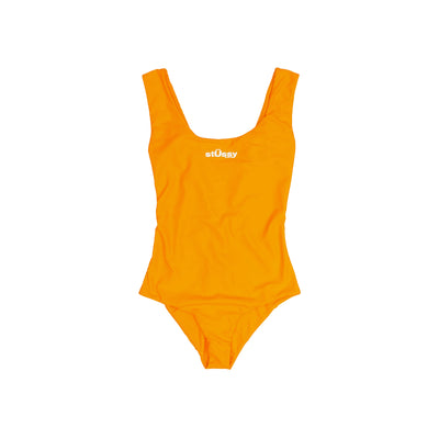 Stussy Design One Piece Swim Suit Tangerine -Front - Off The Hook Montreal