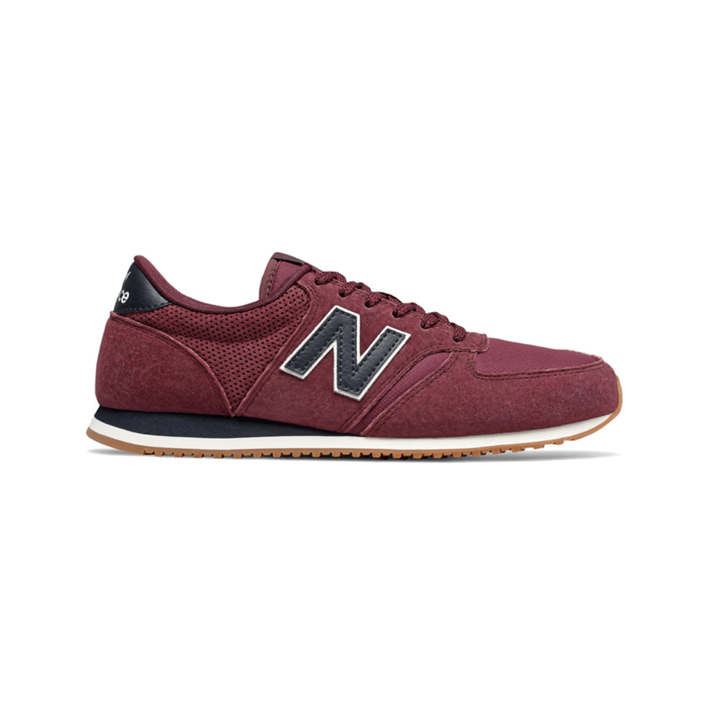 Inspired by famous New Balance running shoes from the '70s, the New Balance 420 in Bordeaux features a blend of suede and mesh with a low profile midsole, ideal for everyday wear. A signature N logo in black leather is stitched in the lateral and medial side of the shoe.  Product code: U420HJ New Balance 420 U420HJ Bordeaux off the hook toh streetwear boutique canada montreal shoes sneakers