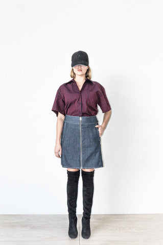 FOUR PANEL A LINE SKIRT WITH ZIP CLOSURE IN SELVEDGE DENIM