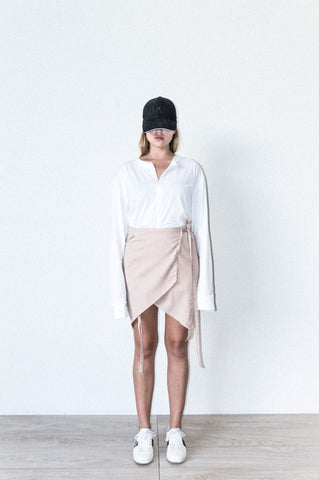 ASYMETRIC WRAP SKIRT IN BEIGE WOOL CREPE