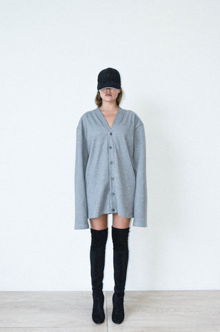 OVERSIZED CARDIGAN DRESS IN GREY RIBBED COTTON