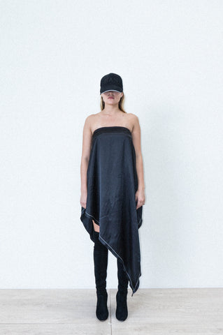ASYMMETRICAL DRAPE DRESS IN BLACK SILK SATIN