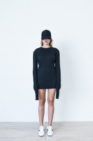 CLASSIC SHIFT DRESS IN BLACK COTTON RIBBING