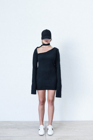 ASYMMETRIC SHOULDER SHIFT DRESS IN BLACK POLAR FLEECE