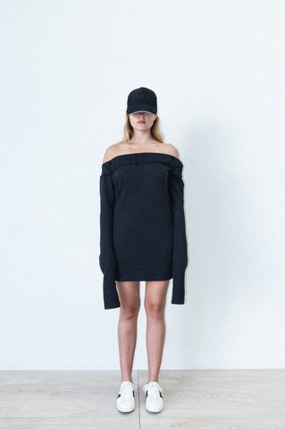 OFF SHOULDER DRESS IN BLACK POLAR FLEECE