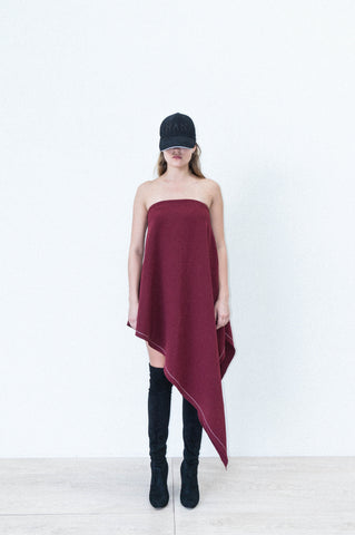 ASYMMETRICAL DRAPE DRESS IN BONDED COTTON