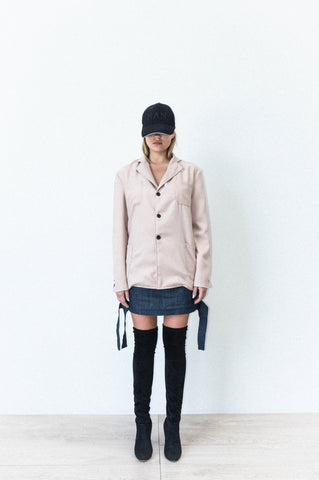 FOUR POCKET JACKET IN BEIGE WOOL CREPE
