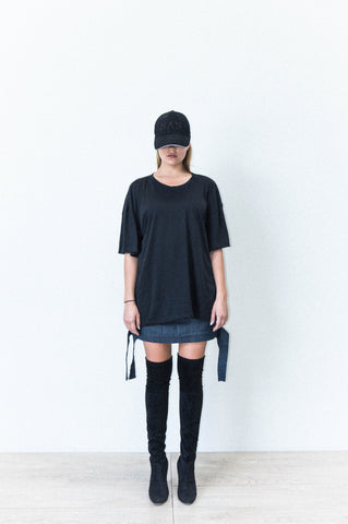 HAN BOX CUT TEE IN BLACK BRUSHED COTTON