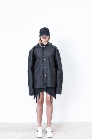 SILK RAINCOAT W/ PRINT IN BLACK SILK