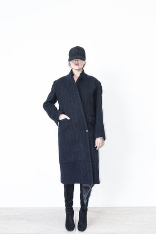 TWO PANEL OVERSIZED PEAK LAPEL COAT IN PINSTRIPE CASHMERE