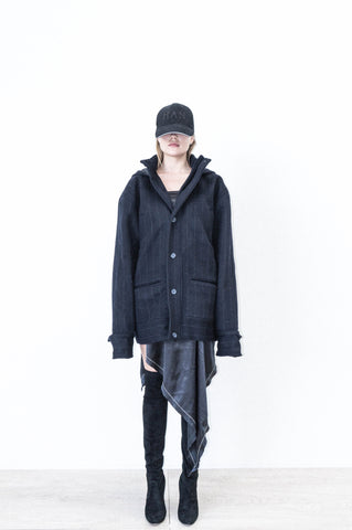 TWO POCKET PARKA JACKET IN PINSTRIPE CASHMERE