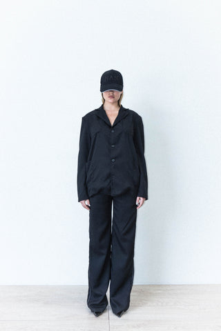 FOUR POCKET JACKET IN BLACK WOOL CREPE